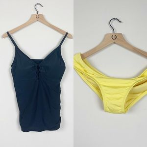 Kona Sol Black Tankini Top & Yellow Bikini Bottoms